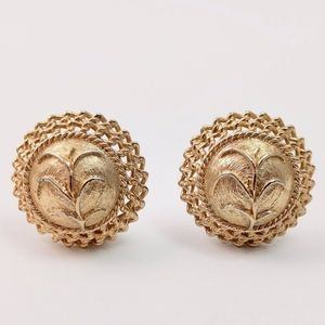 Vintage Ornate Gold Clip-On Earrings